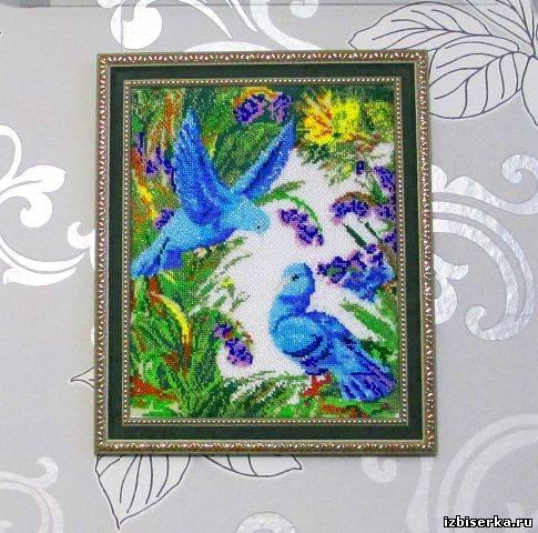 """Картина из бисера """"Голуби"""""""
