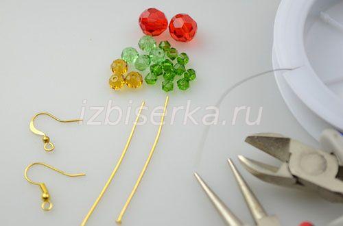 Нужные материалы для плетения серёжек яблочек