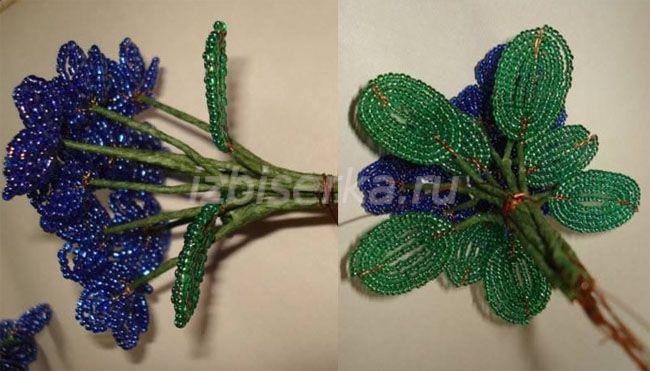 цветок фиалки из бисера в