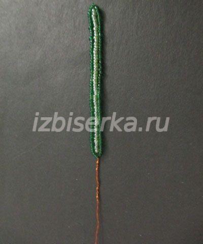 Плетение листика для крокуса из бисера