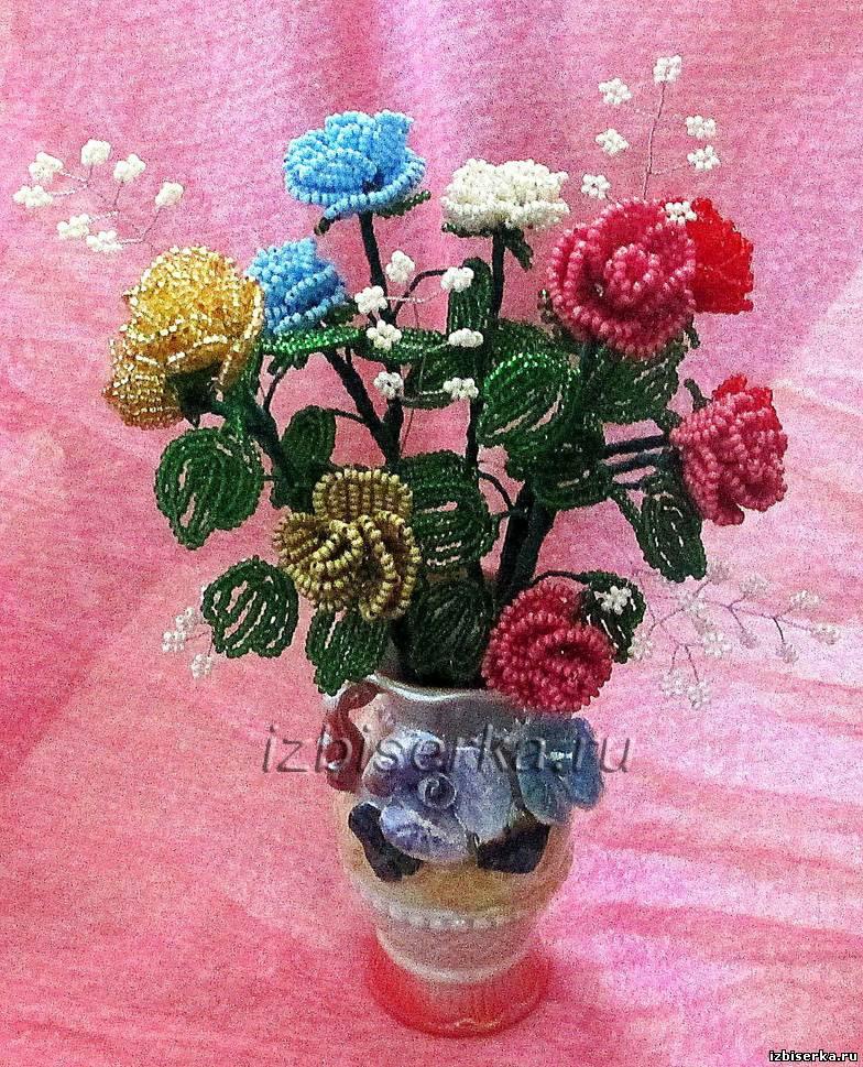 Фото кустовой розы из бисера