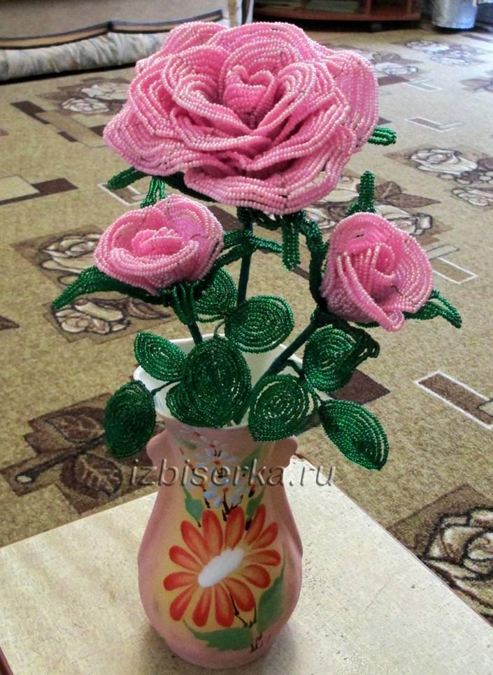 Фото розы из бисера