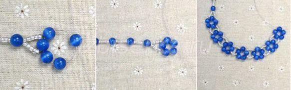Плетение ожерелья из бусин и бисера