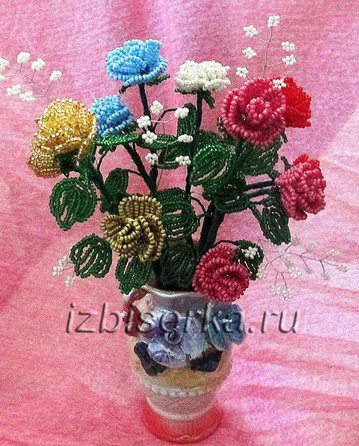 Кустовая роза из бисера мастер-класс