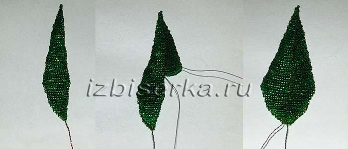 Плетение из бисера листика для тюльпана