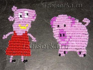 Поросенок и свинка Пеппа из бисера — пошаговый мастер-класс с фото